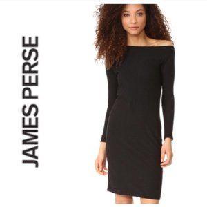 James Perse Grey Off Shoulder Midi Dress 2 Medium
